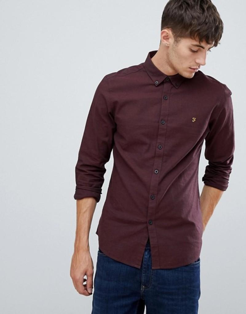 ファーラー メンズ シャツ トップス Farah Steen slim fit textured shirt in burgundy Red