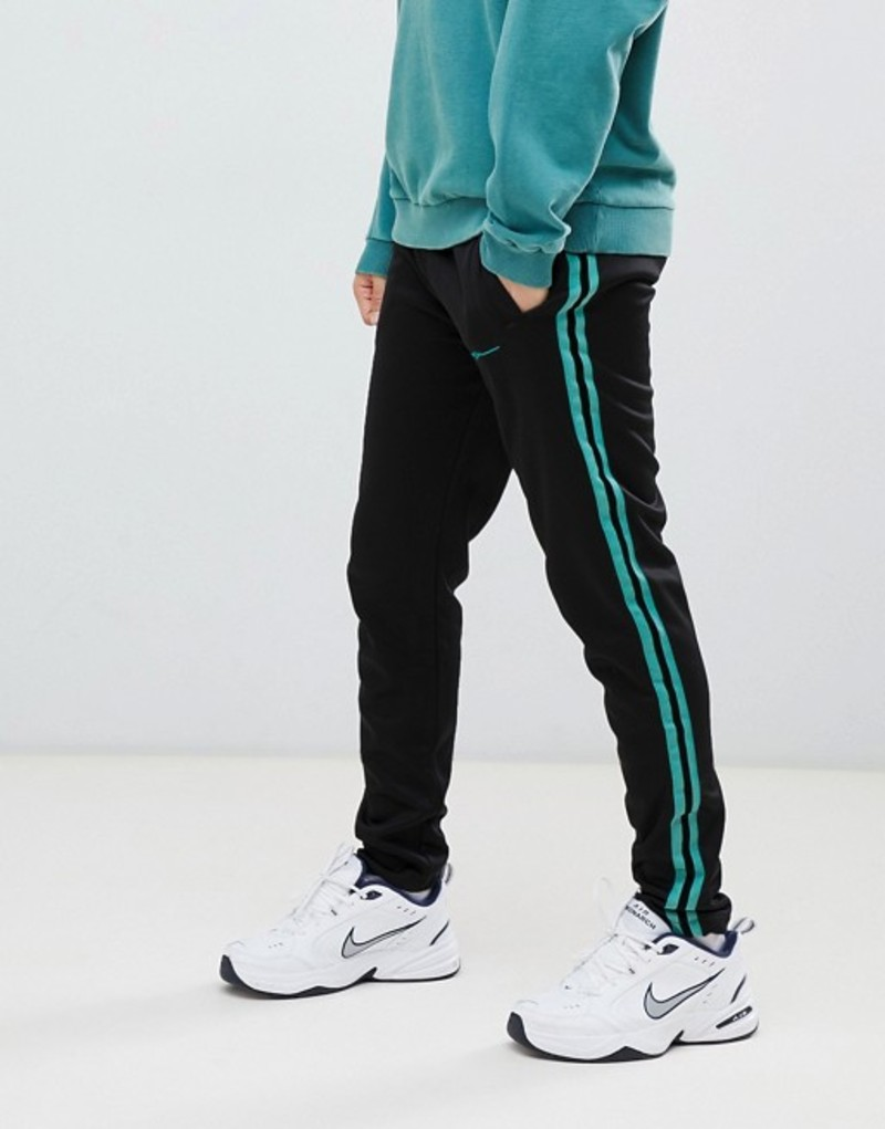 メニス メンズ カジュアルパンツ ボトムス Mennace velvet skinny joggers with side stripe and zip detail Black
