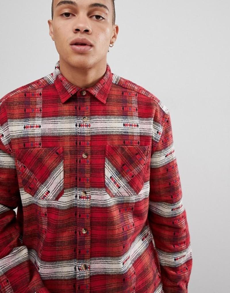 エイソス メンズ シャツ トップス ASOS DESIGN oversized check shirt with geo-tribal design in red Red