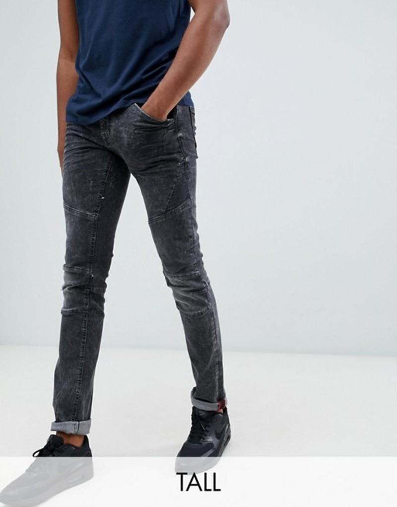 ブレンド メンズ デニムパンツ ボトムス Blend Tall skinny biker jeans in washed black 76204 black