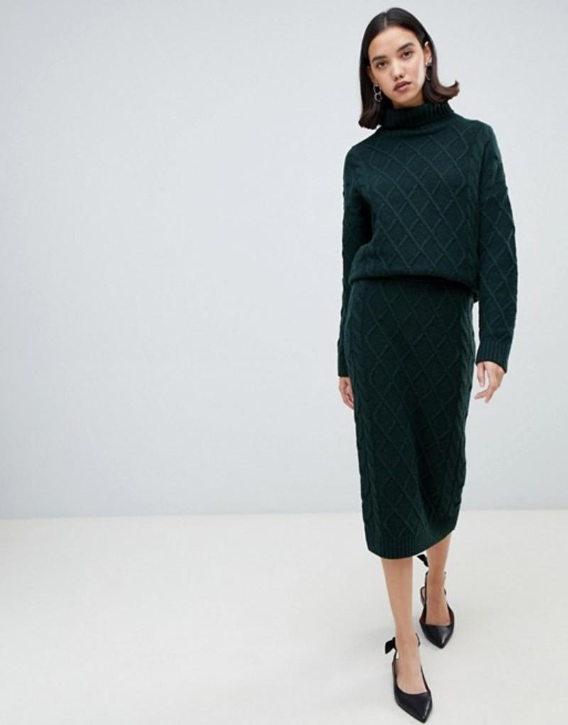 セレクティッド レディース スカート ボトムス Selected knit pencil skirt Green
