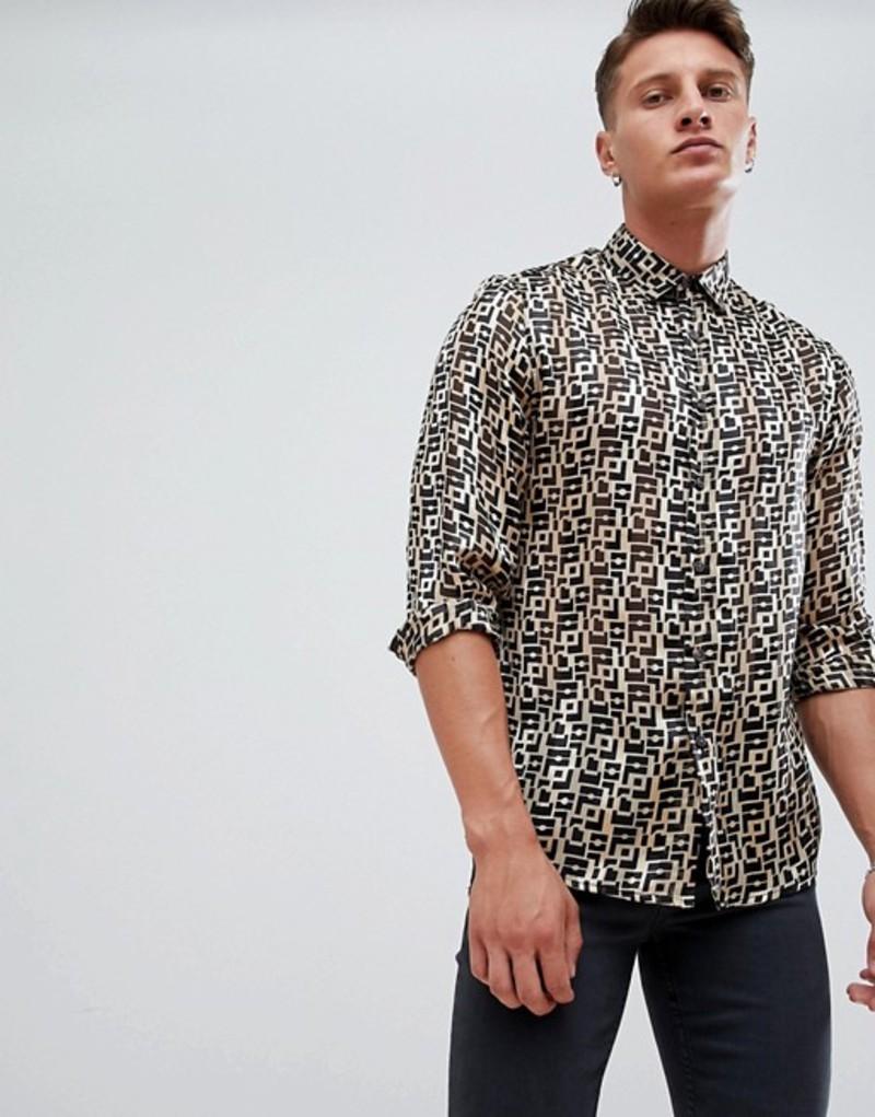 エイソス メンズ シャツ トップス ASOS DESIGN regular fit retro geo print shirt in sheer Gold