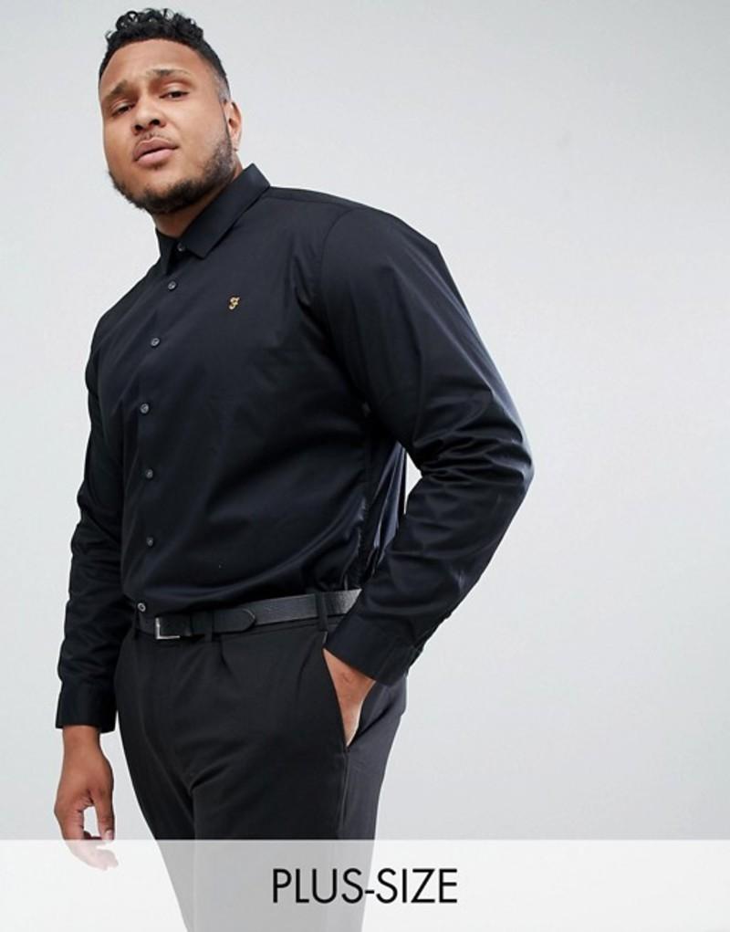 ファーラー メンズ シャツ トップス Farah Handford slim fit smart poplin shirt in black Black