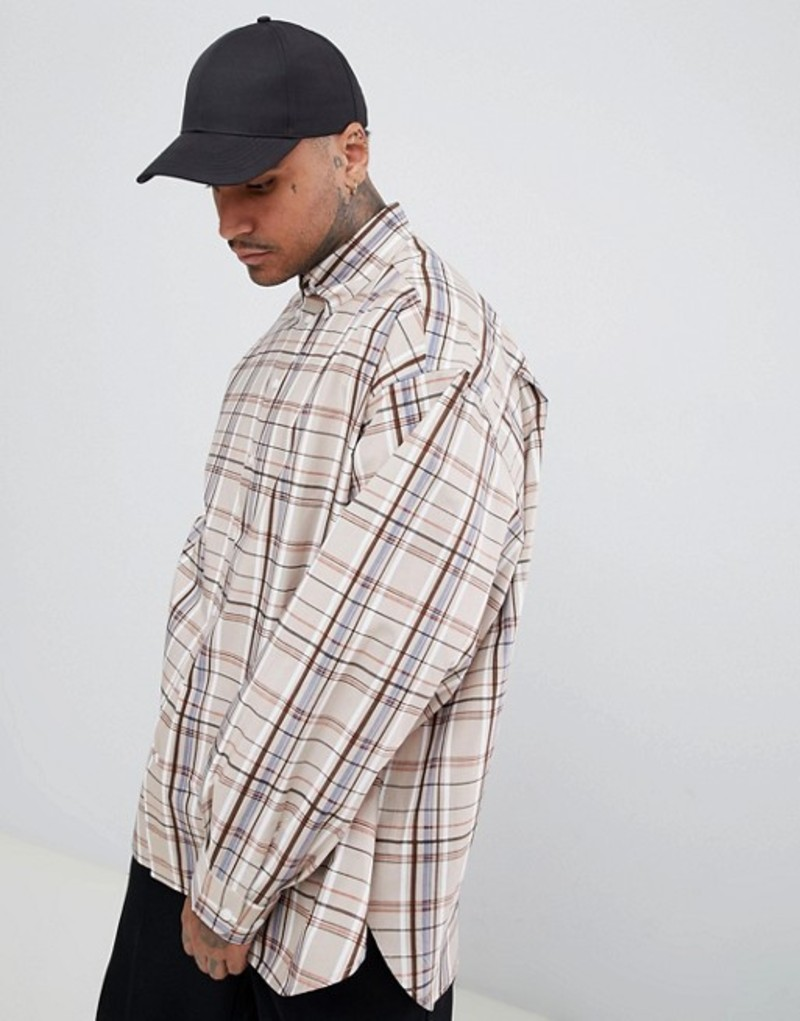 エーディーディーダウン メンズ シャツ トップス ADD oversized check shirt Stone