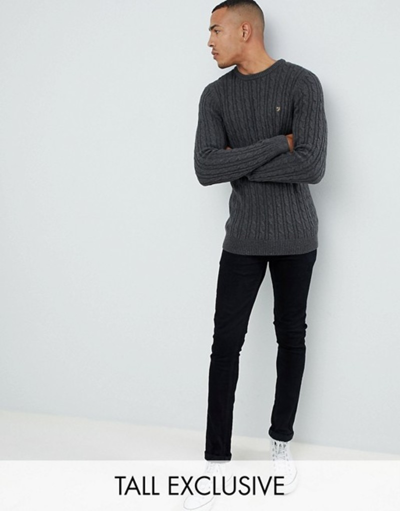 ファーラー メンズ ニット・セーター アウター Farah Ludwig twisted marl cable sweater in charcoal Grey