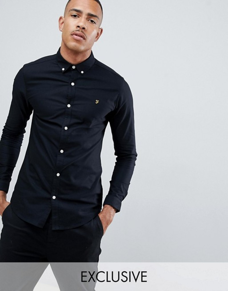 ファーラー メンズ シャツ トップス Farah Sanfers skinny fit buttondown oxford shirt in black Black