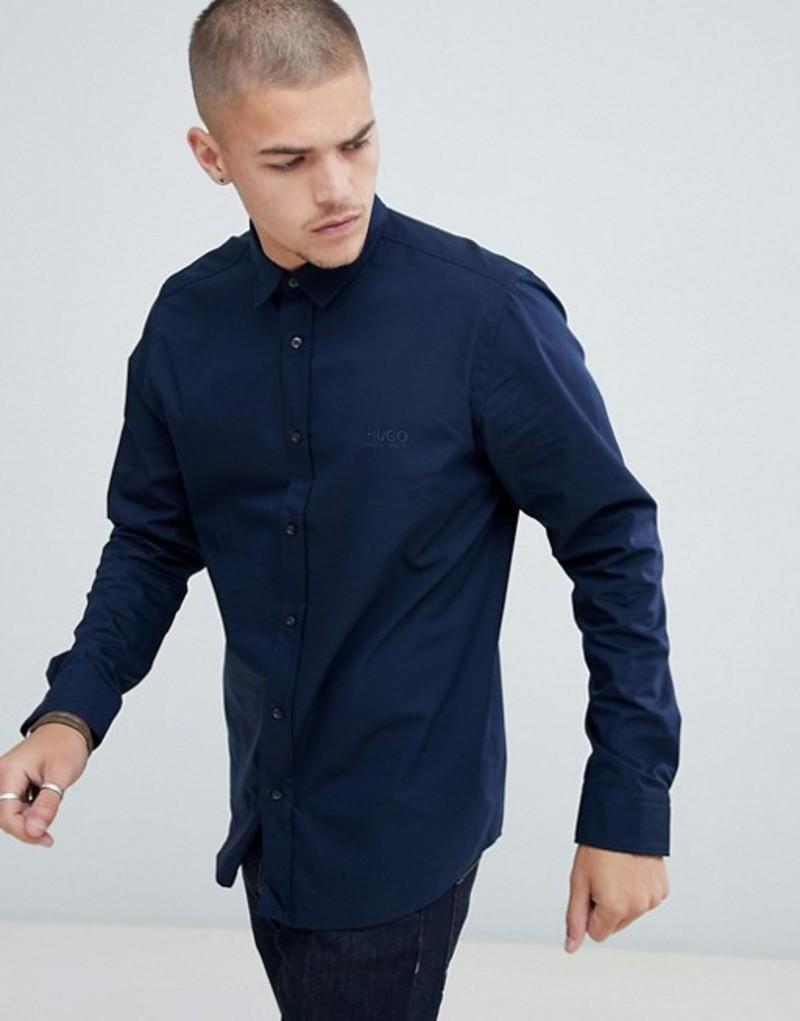 フューゴ メンズ シャツ トップス HUGO Evory-logo regular fit poplin shirt in navy Navy