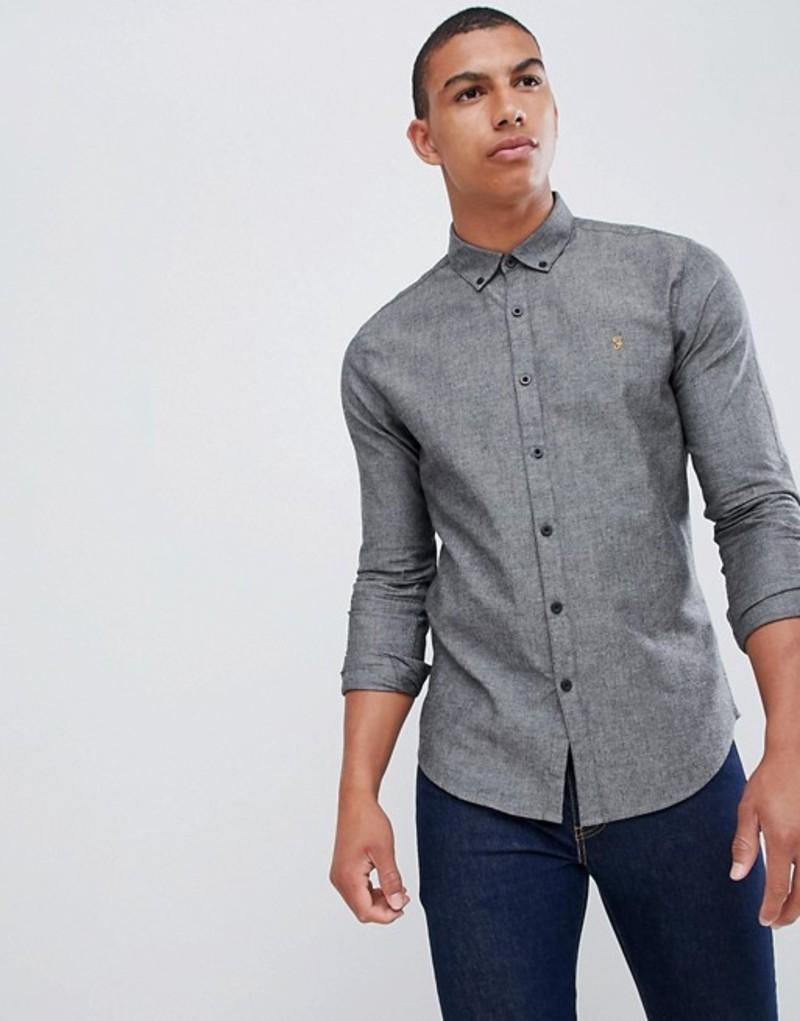 ファーラー メンズ シャツ トップス Farah Steen slim fit textured shirt in gray Grey