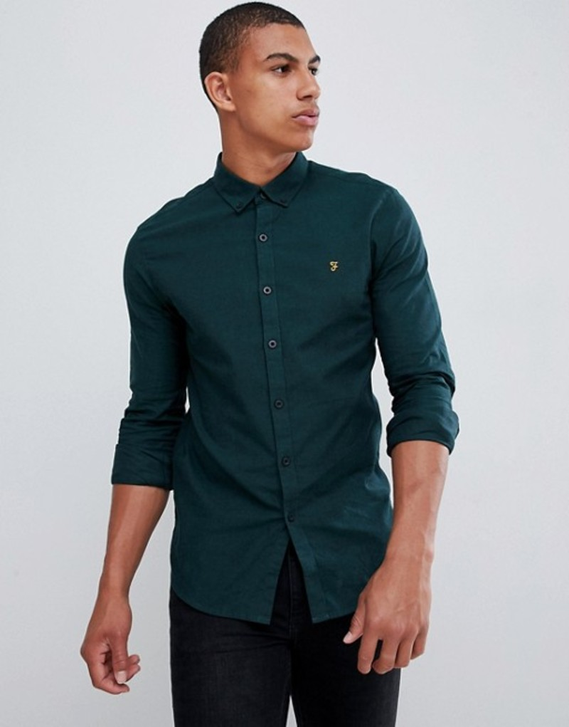 ファーラー メンズ シャツ トップス Farah Steen slim fit textured shirt in green Green