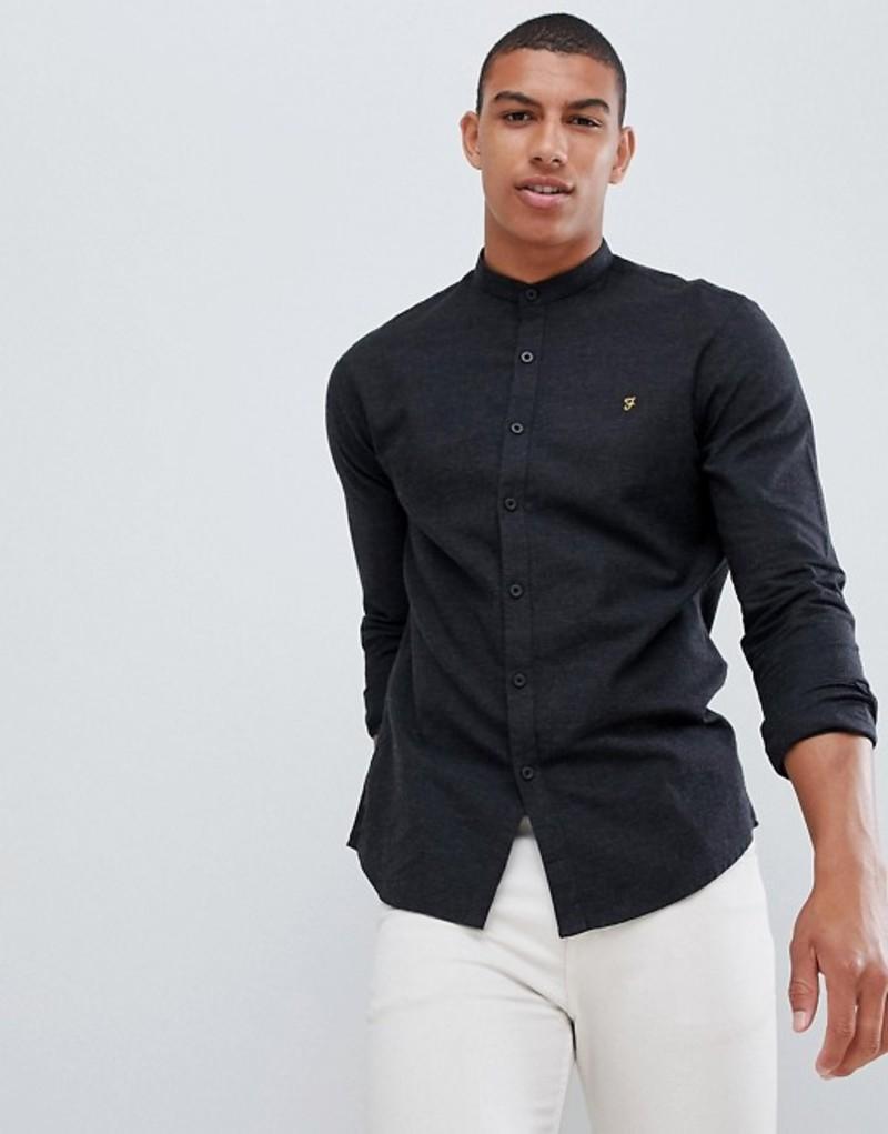 ファーラー メンズ シャツ トップス Farah Steen slim fit textured grandad collar shirt in gray Grey