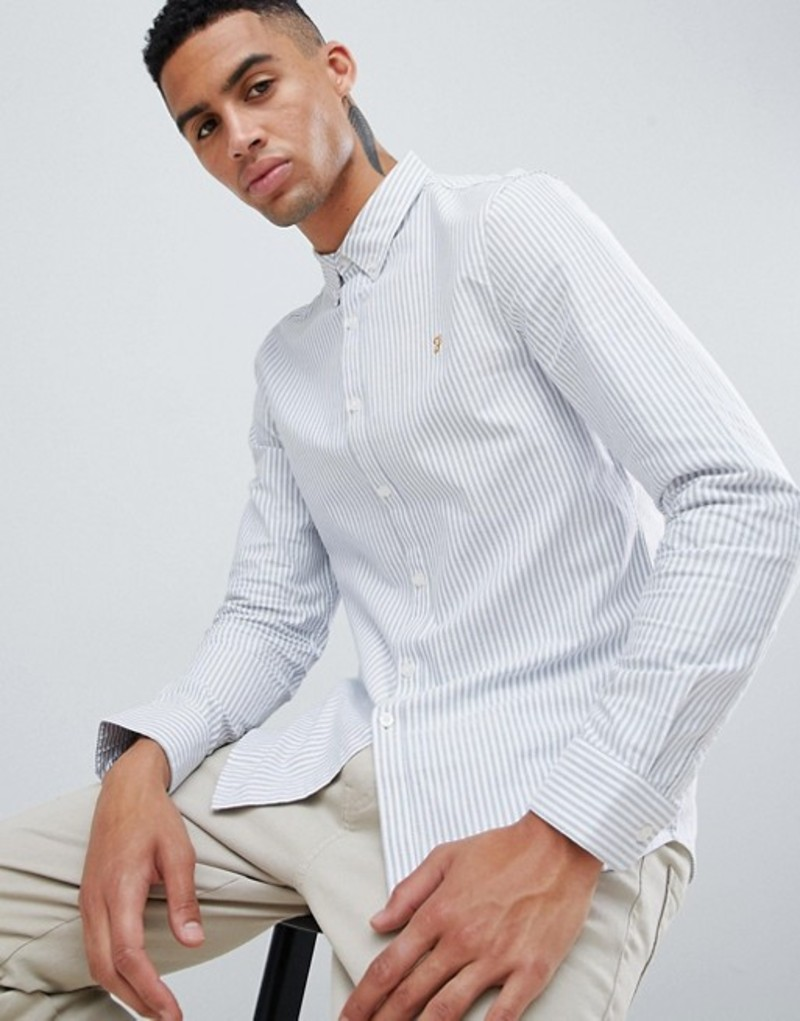 ファーラー メンズ シャツ トップス Farah Brewer slim fit stripe oxford shirt in blue Blue