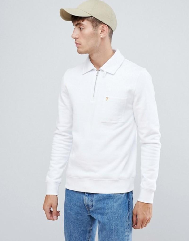 ファーラー メンズ パーカー・スウェット アウター Farah Govanhill zip neck collar sweat in white White