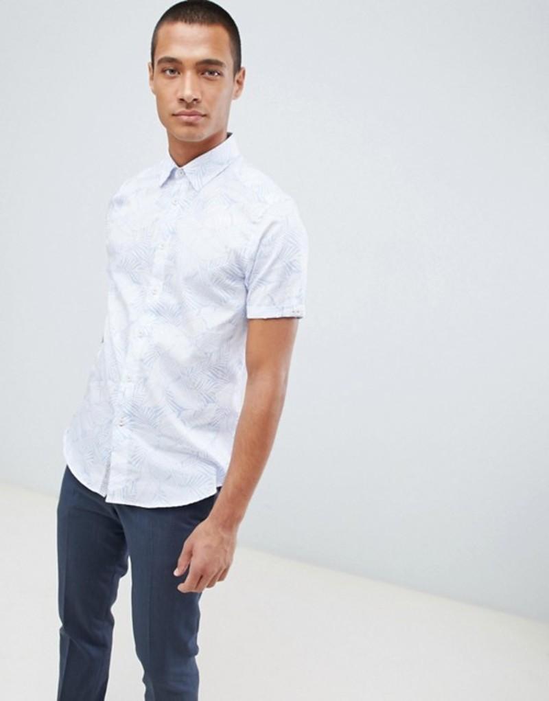 テッドベーカー メンズ シャツ トップス Ted Baker short sleeve shirt in white with leaf print Light blue