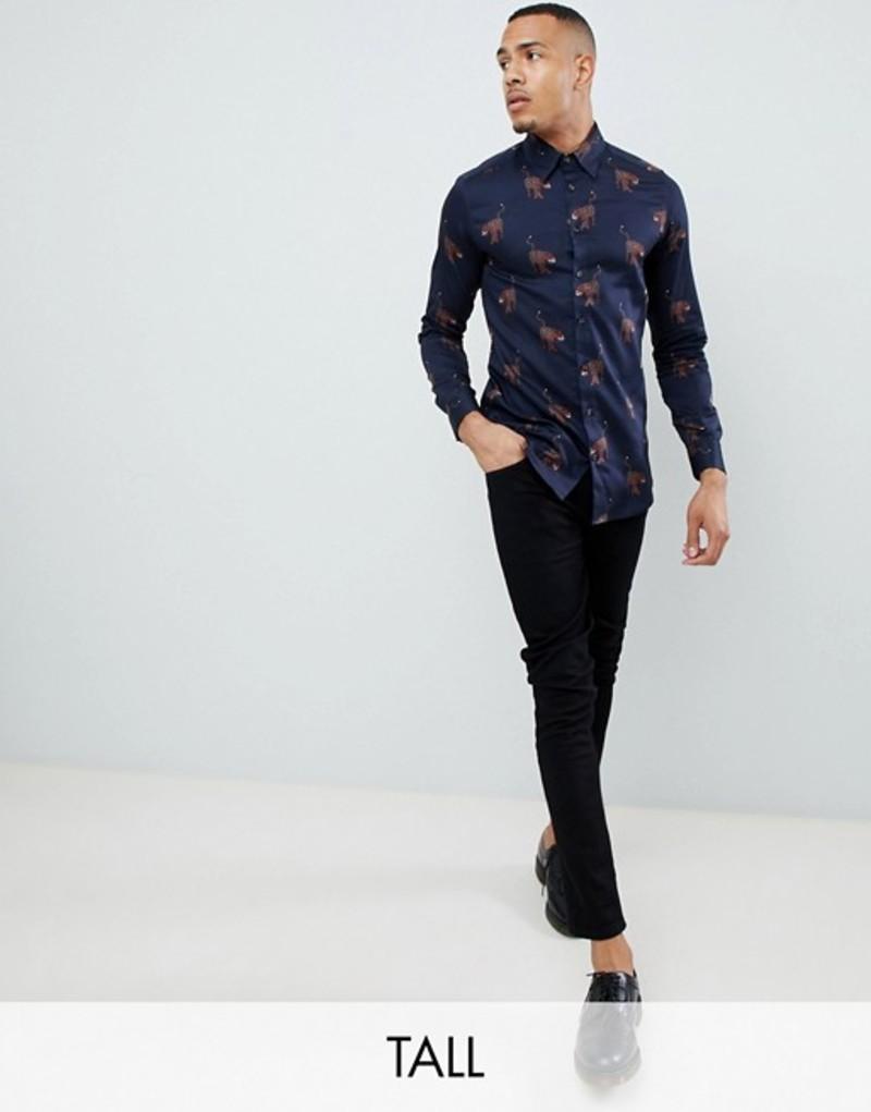 テッドベーカー メンズ シャツ トップス Ted Baker Tall smart oxford shirt with all over panther print Navy