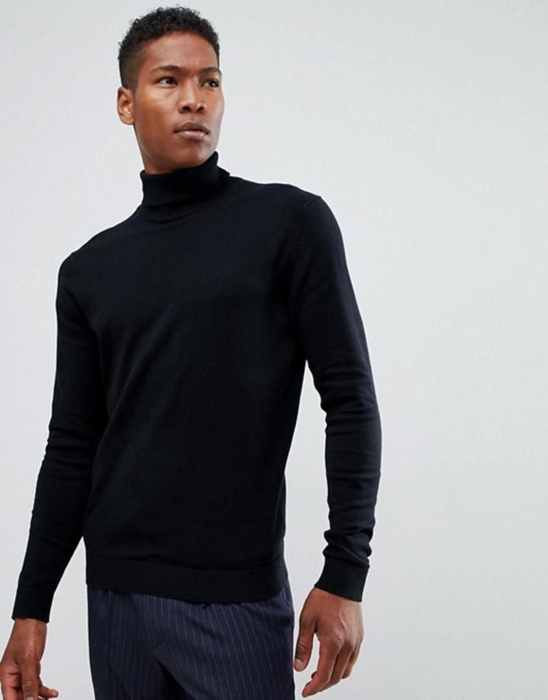 セレクテッドオム メンズ ニット・セーター アウター Selected Homme Cotton Silk Knitted Roll Neck Black