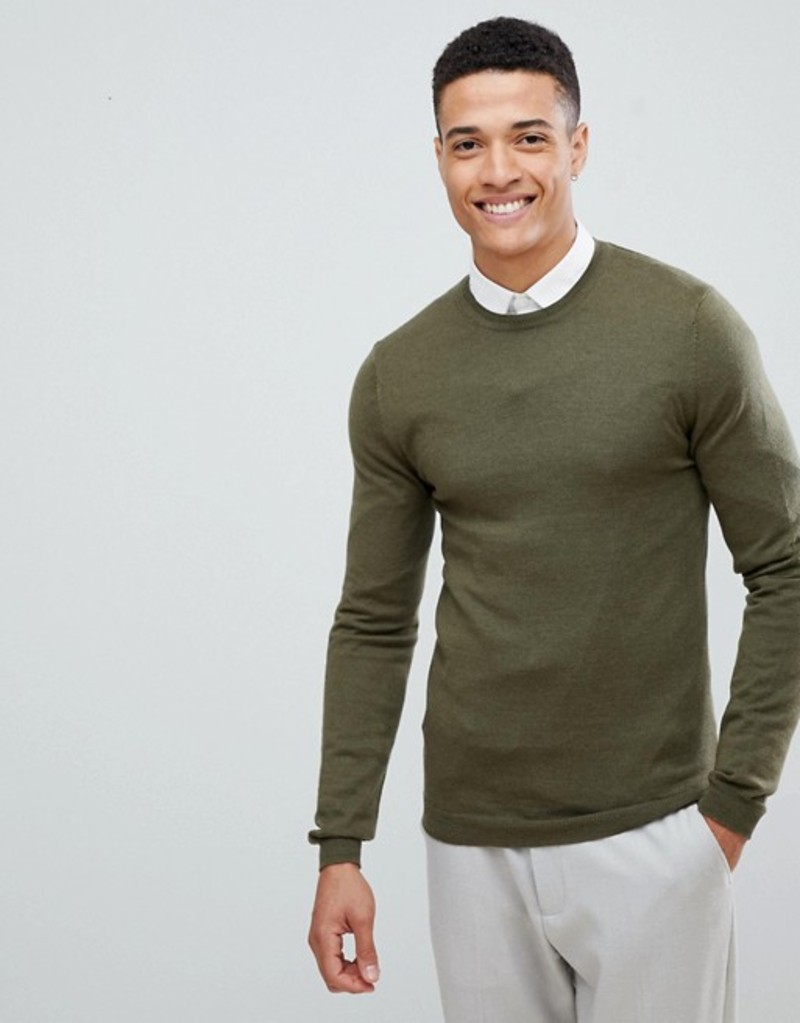 エイソス メンズ ニット・セーター アウター ASOS DESIGN muscle fit merino wool sweater in khaki Khaki