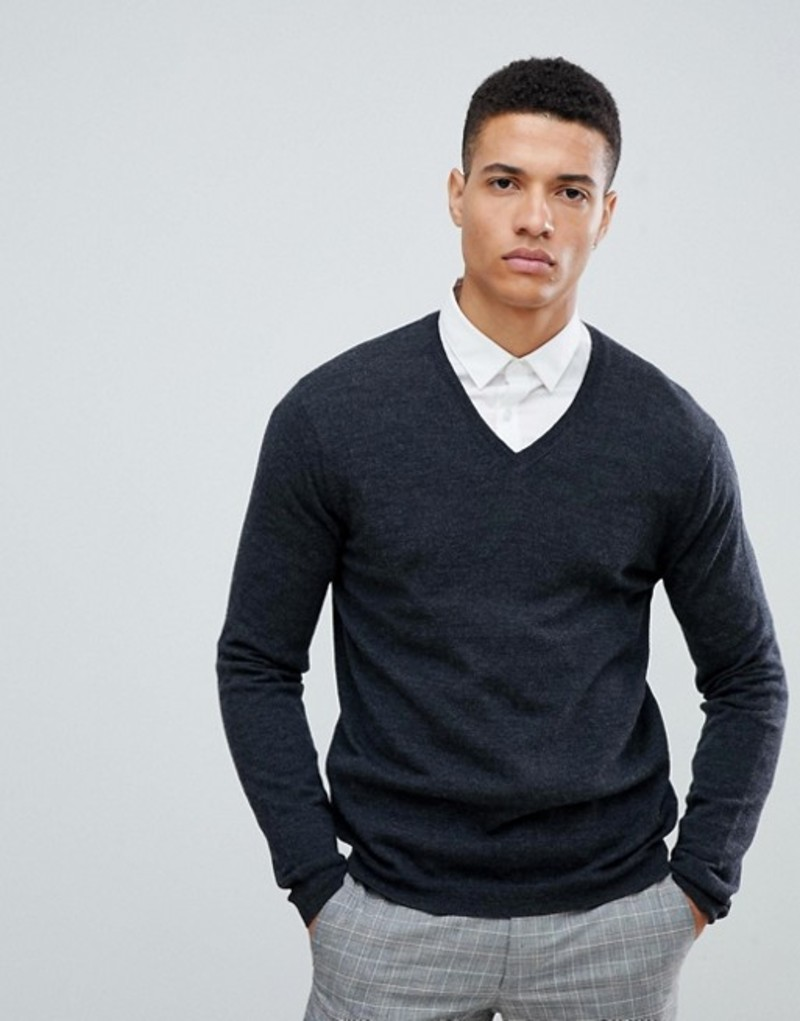 エイソス メンズ ニット・セーター アウター ASOS DESIGN merino wool v-neck sweater in charcoal Charcoal