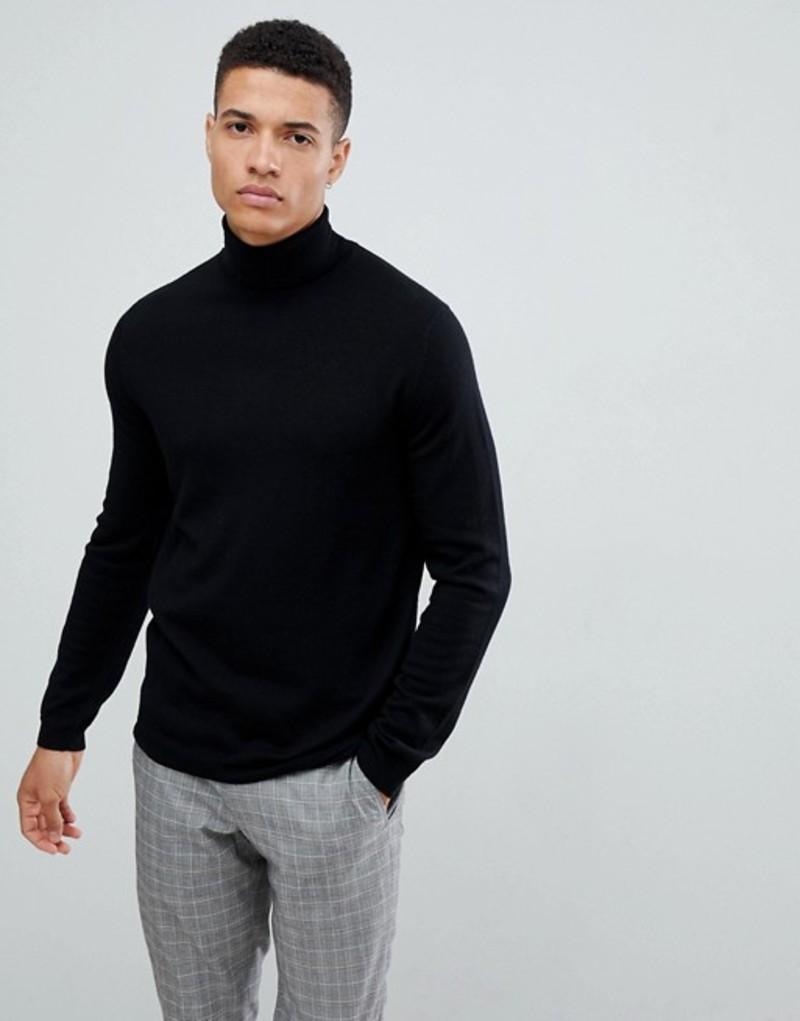 エイソス メンズ ニット・セーター アウター ASOS DESIGN merino wool roll neck sweater in black Black