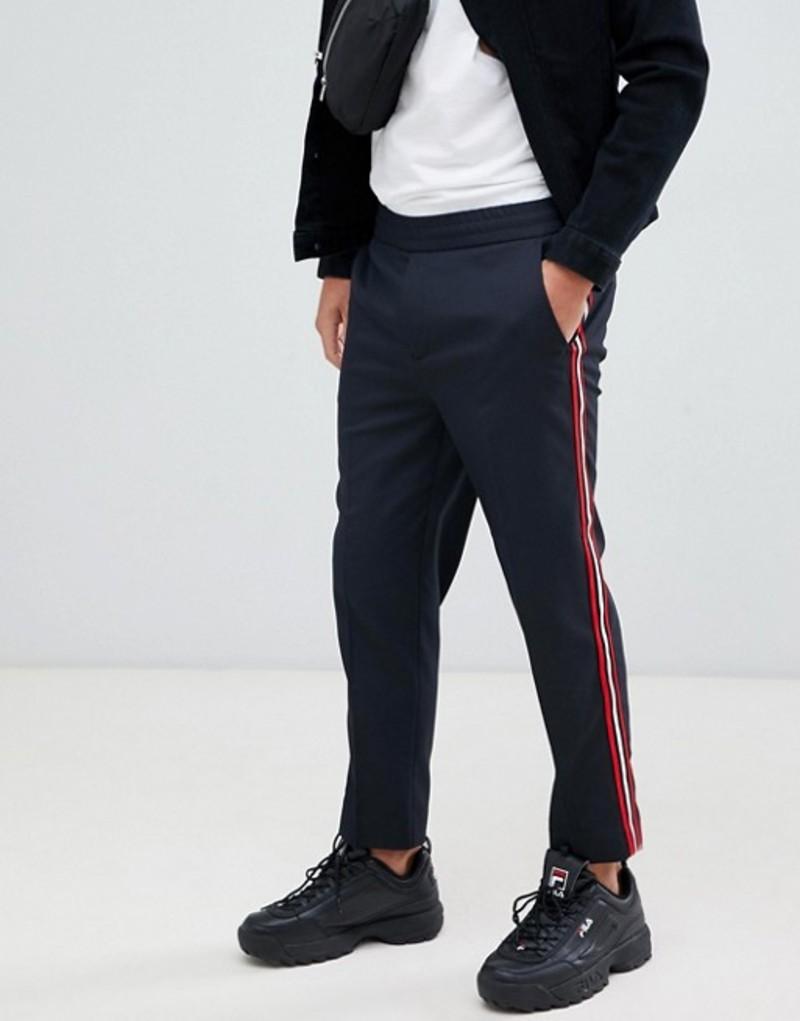メニス メンズ カジュアルパンツ ボトムス Mennace pants in navy with side stripe Grey