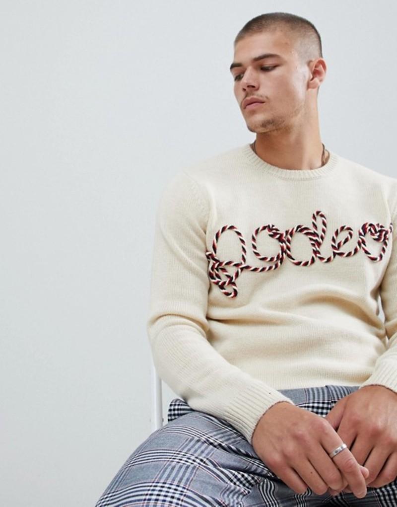 エイソス メンズ ニット・セーター アウター ASOS DESIGN sweater with rope design Ecru