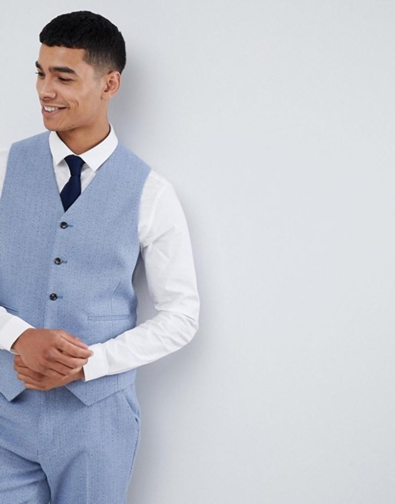 エイソス メンズ タンクトップ トップス ASOS DESIGN wedding skinny suit vest in light blue herringbone Blue