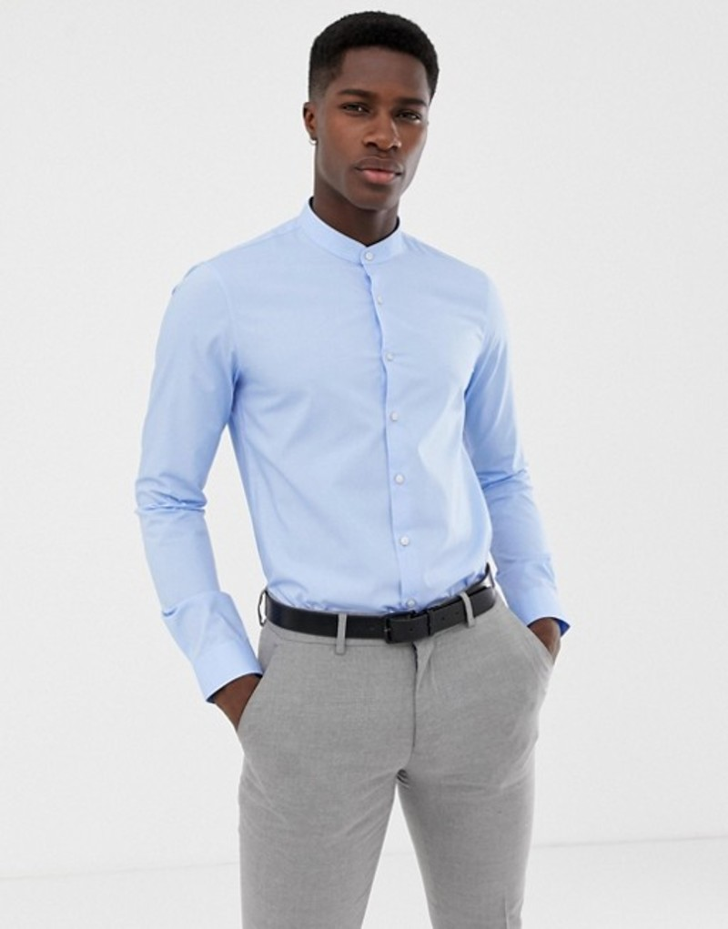 カルバンクライン メンズ シャツ トップス Calvin Klein Extra Slim Stretch Shirt Grandad Collar Light Blue Light blue