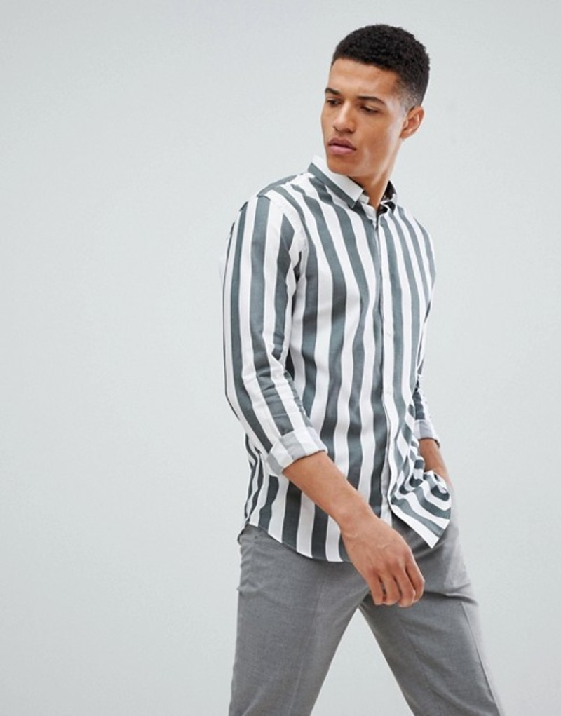 ジャック アンド ジョーンズ メンズ シャツ トップス Jack & Jones Premium shirt in slim fit vertical stripe Scarab