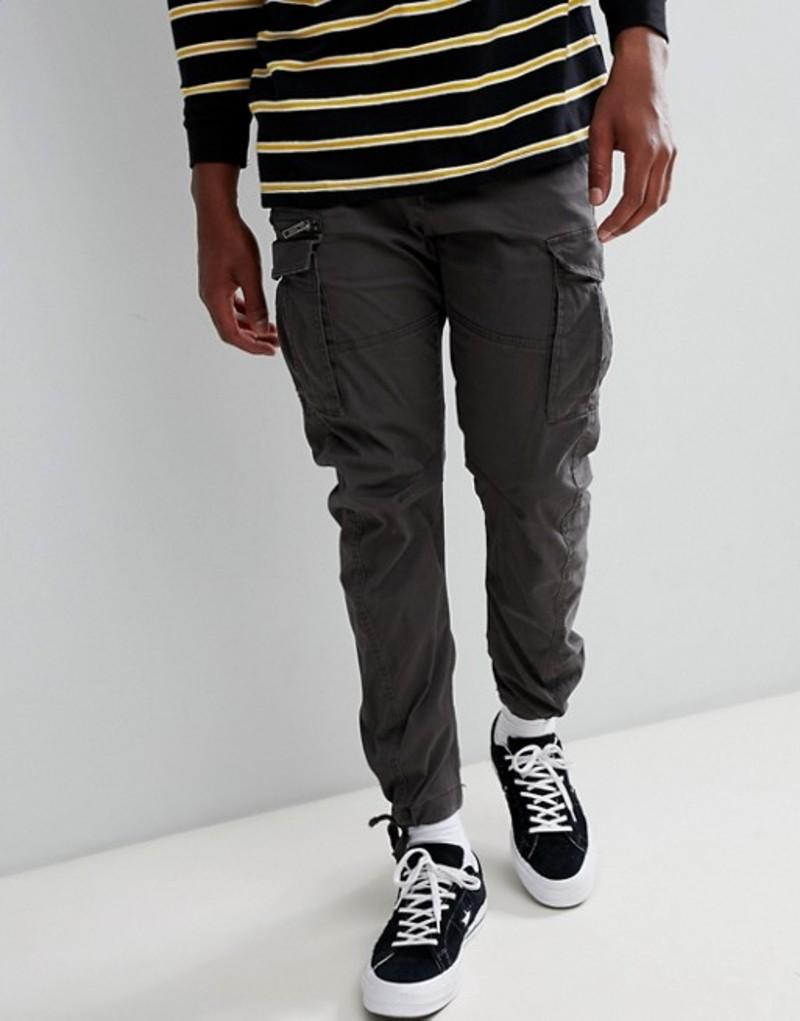 ジャック アンド ジョーンズ メンズ カジュアルパンツ ボトムス Jack & Jones cargo PANTS in slim fit with drawstring ankle Dark grey