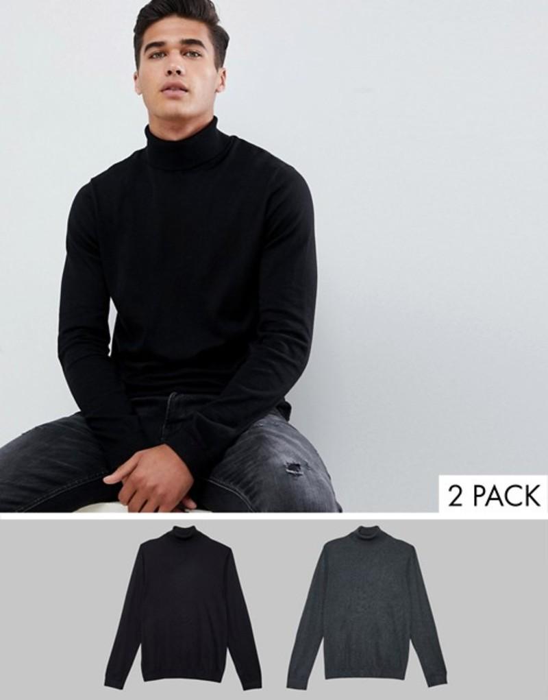 エイソス メンズ ニット・セーター アウター ASOS DESIGN roll neck sweater in black / charcoal 2 pack save Multi