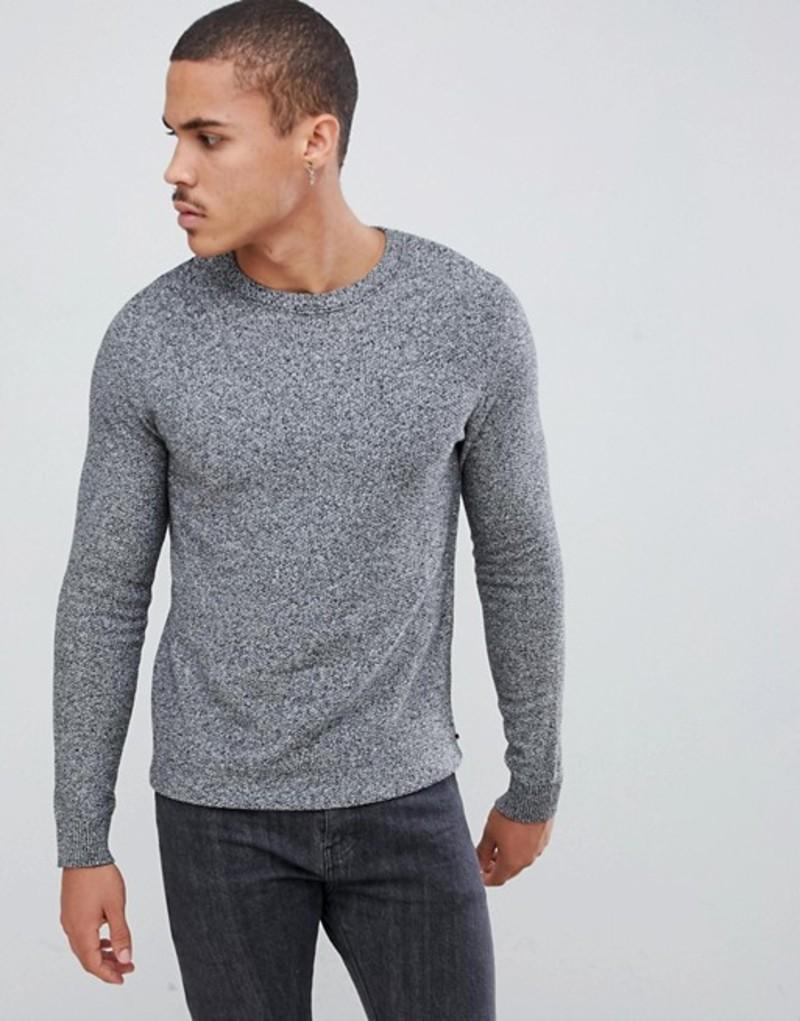 ジャック アンド ジョーンズ メンズ ニット・セーター アウター Jack & Jones Essentials crew neck sweater in texture Jet stream with blac