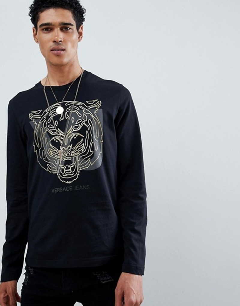 ヴェルサーチ メンズ Tシャツ トップス Versace Jeans long sleeve t-shirt in black with tiger print Black