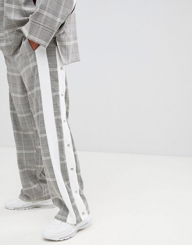 エーディーディーダウン メンズ カジュアルパンツ ボトムス ADD joggers in check with side stripe poppers Brown