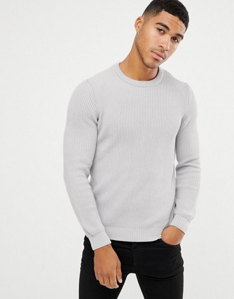 エイソス メンズ ニット・セーター アウター ASOS DESIGN midweight ribbed sweater in gray Grey