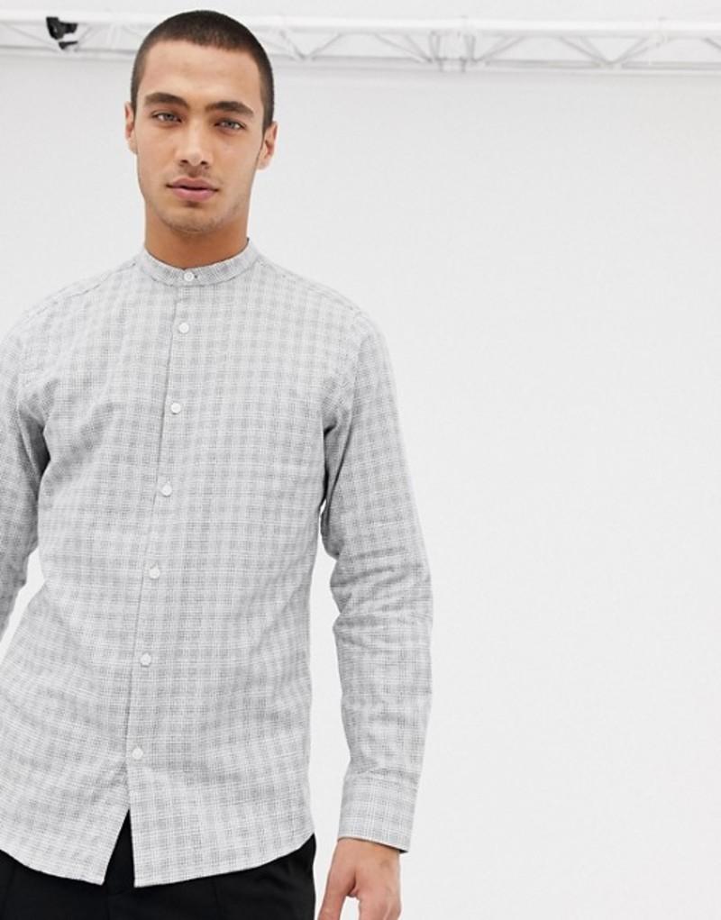 セレクテッドオム メンズ シャツ トップス Selected Homme shirt in slim fit grandad collar with check White mini check top