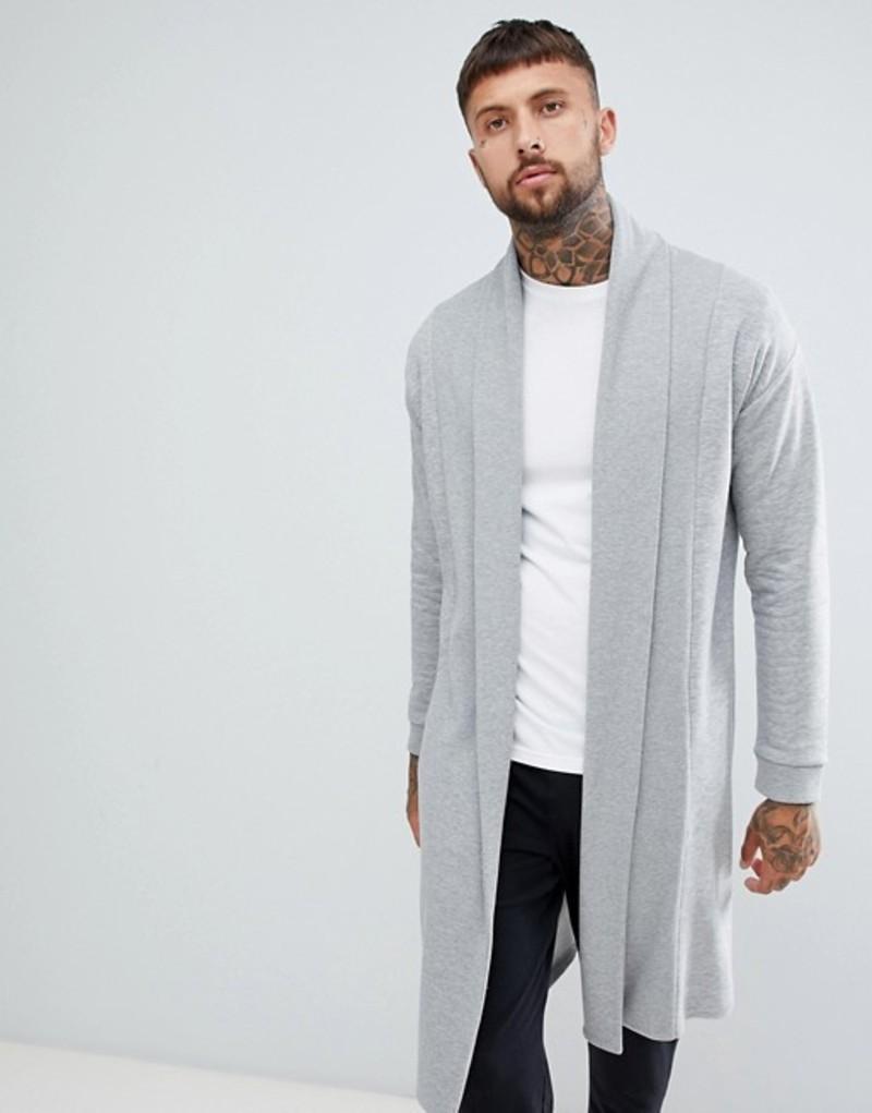 エイソス メンズ カーディガン アウター ASOS DESIGN jersey cardigan with shawl neck in gray Grey marl