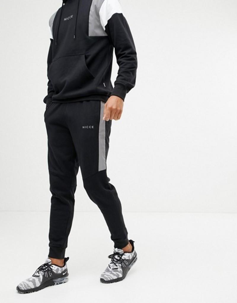 ニースロンドン メンズ カジュアルパンツ ボトムス Nicce skinny joggers in black with reflective panels Black