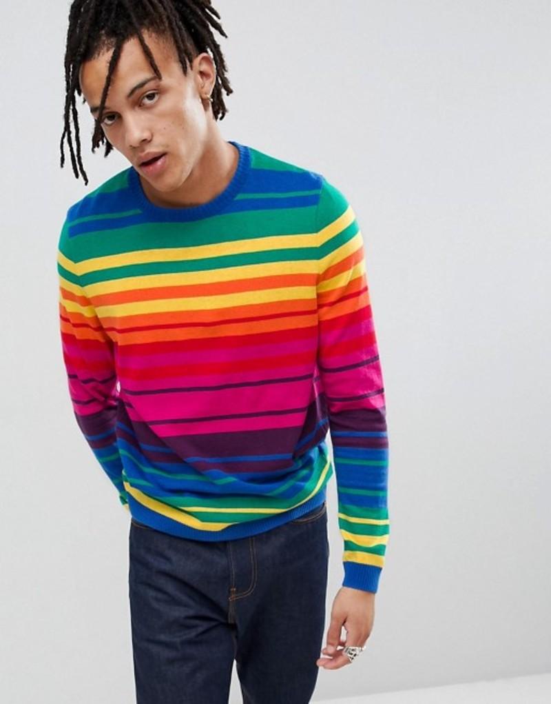 エイソス メンズ ニット・セーター アウター ASOS DESIGN knitted rainbow stripe sweater Multi