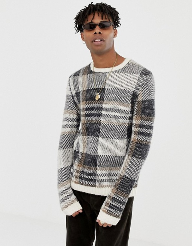 エイソス メンズ ニット・セーター アウター ASOS DESIGN textured check sweater in ecru base Beige