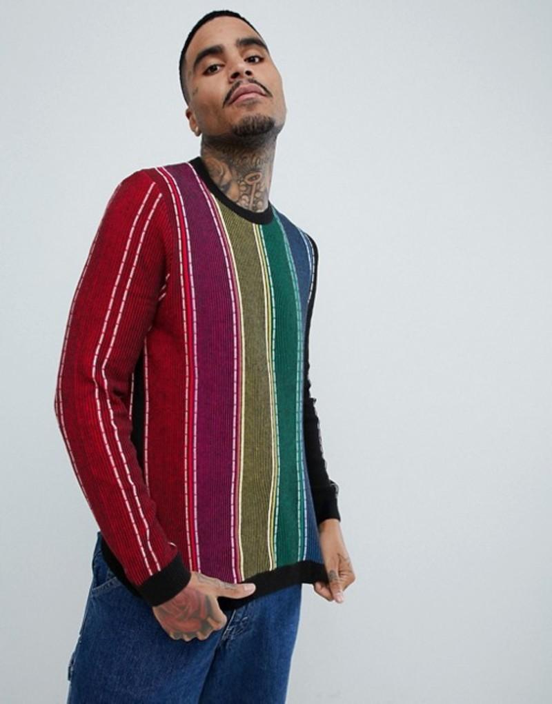 エイソス メンズ ニット・セーター アウター ASOS DESIGN knitted ribbed sweater with veritcal rainbow stripes Multi