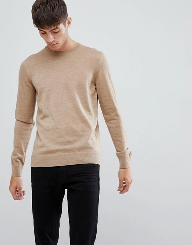 ファーラー メンズ ニット・セーター アウター Farah Mullen merino wool sweater in sand Tan