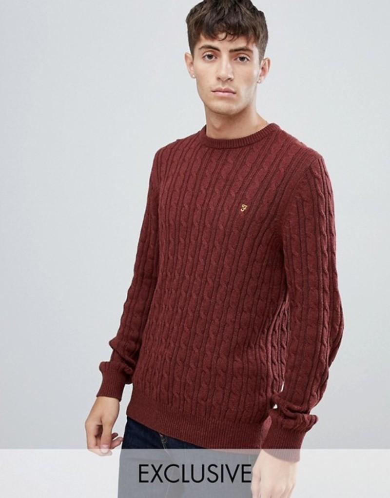 ファーラー メンズ ニット・セーター アウター Farah Ludwig cable crew neck sweater in red Red