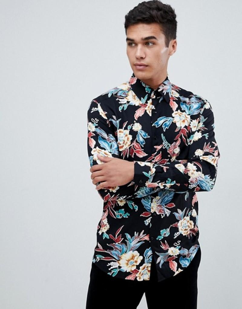 レイス メンズ シャツ トップス Reiss long sleeve shirt in black floral print Black