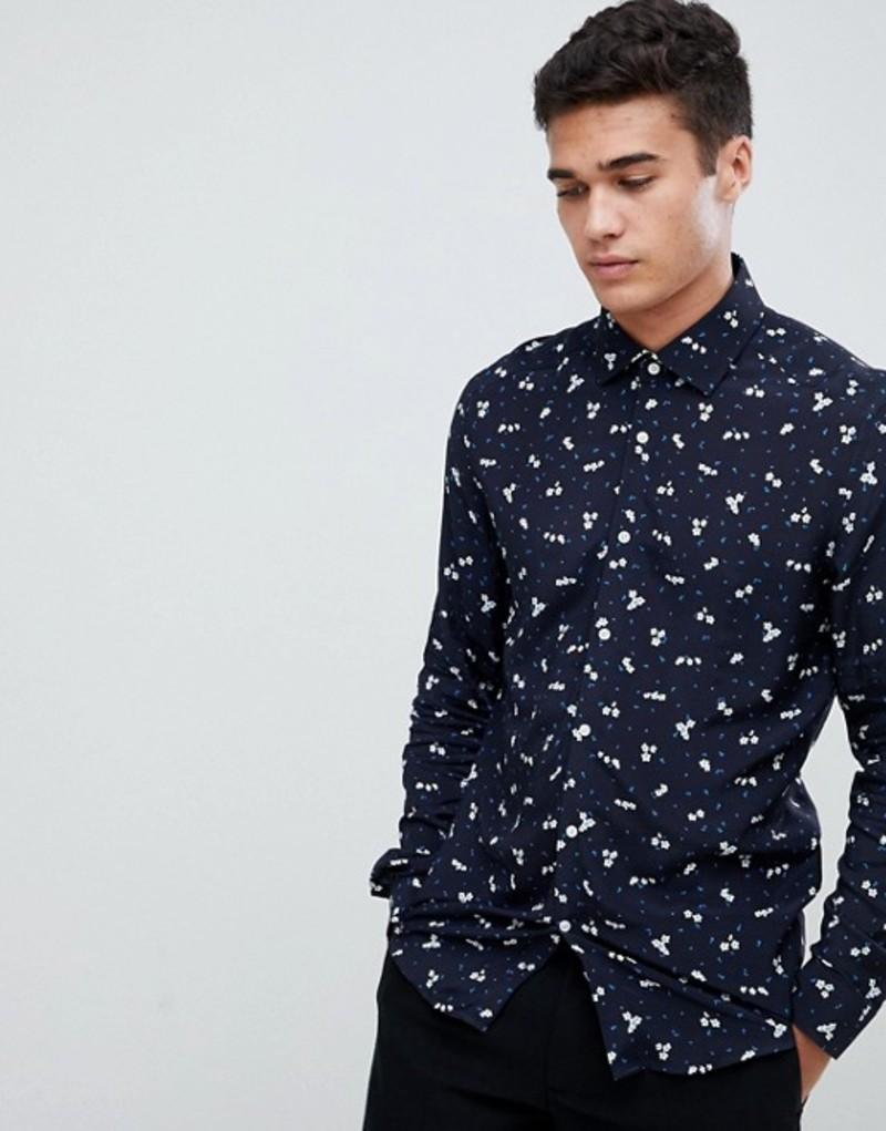 レイス メンズ シャツ トップス Reiss slim fit shirt in navy floral print Navy