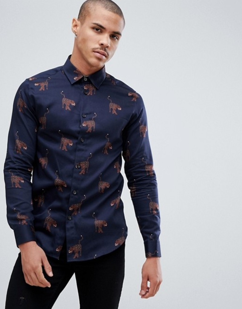 テッドベーカー メンズ シャツ トップス Ted Baker party shirt in navy with panther print Navy