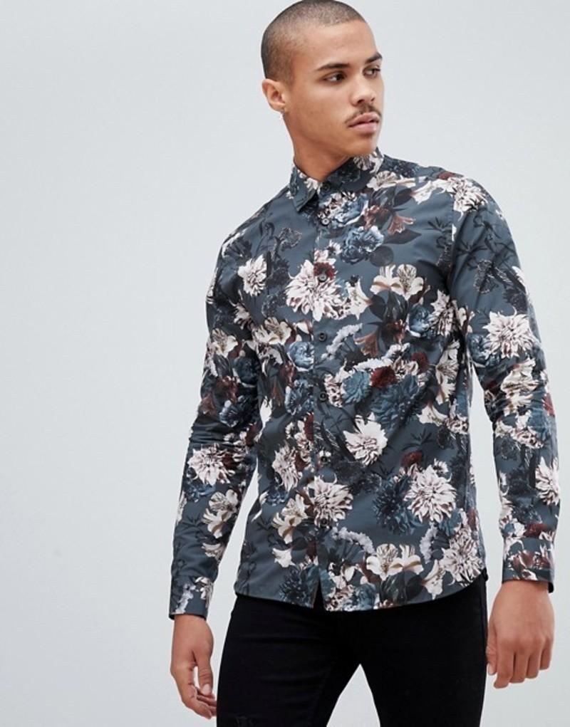 テッドベーカー メンズ シャツ トップス Ted Baker party shirt in dark blue floral Dark blue