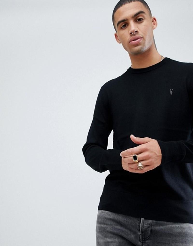 オールセインツ メンズ ニット・セーター アウター AllSaints 100% Merino Crew Neck Sweater In Black With Ramskull Logo Black