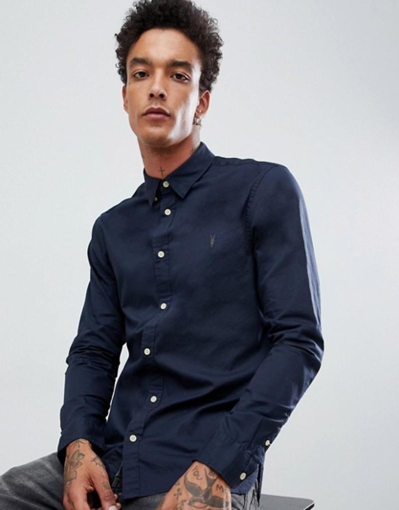 オールセインツ メンズ シャツ トップス AllSaints Oxford Shirt In Navy With Ramskull Logo Merchant ink