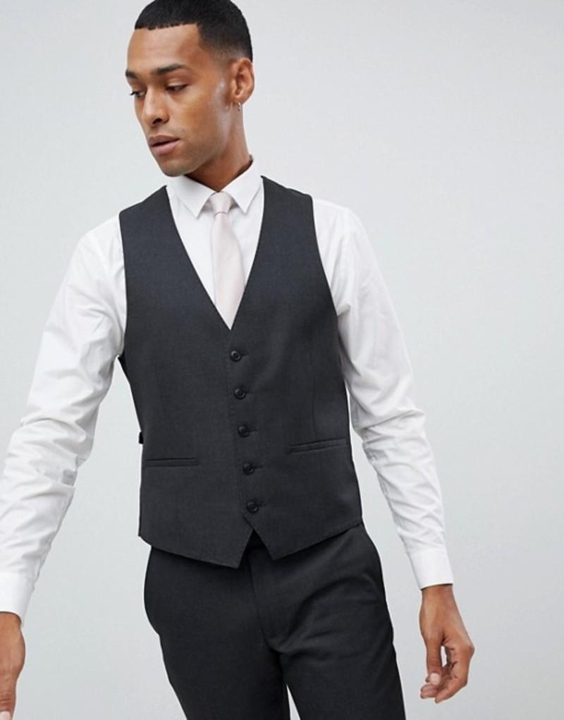 モス ブラザーズ メンズ タンクトップ トップス Moss London Skinny Suit Vest in Charcoal Charcoal