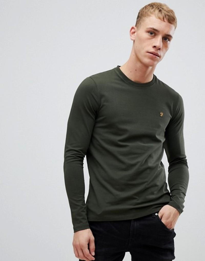 ファーラー メンズ Tシャツ トップス Farah Southall super slim fit logo long sleeve t-shirt in green Green