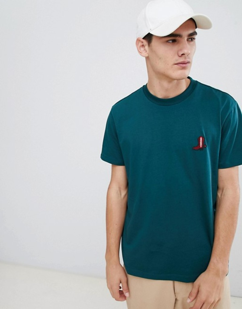 カルバンクライン メンズ Tシャツ トップス Calvin Klein Relax Fit T-Shirt With Embroidered Boot Logo Green Ponderosa pine